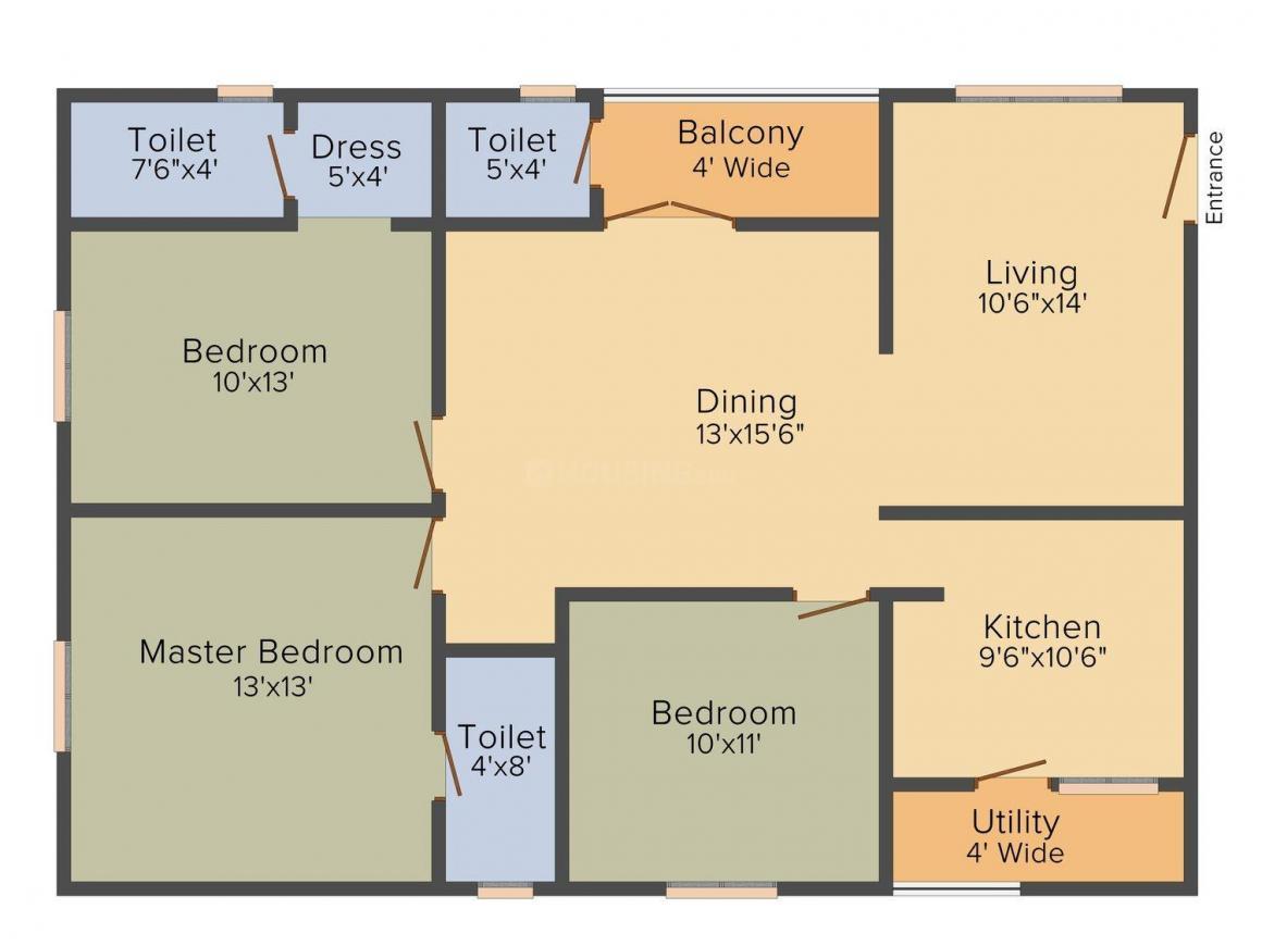 Floor Plan Image of 0 - 1500 Sq.ft 3 BHK Apartment for buy in Supriya Splendour