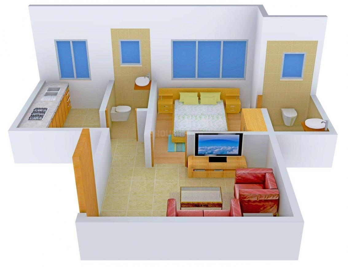 Floor Plan Image of 0 - 624.0 Sq.ft 1 BHK Apartment for buy in Om Sai Shri Ganesh Enclave