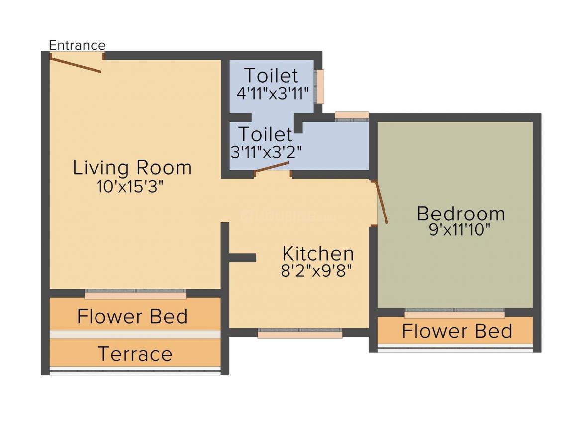 Floor Plan Image of 0 - 650.0 Sq.ft 1 BHK Apartment for buy in Diksha Residency