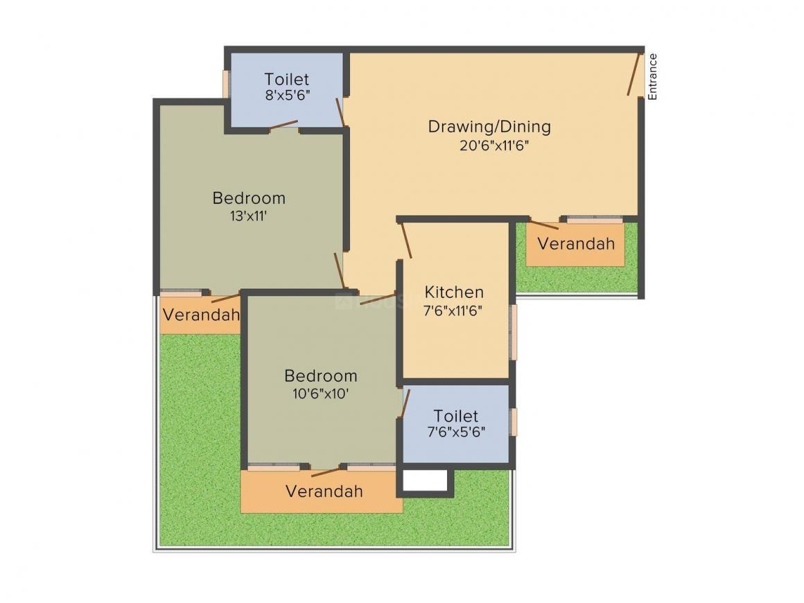 Parsvnath Castle Floor Plan: 2 BHK Unit with Built up area of 1130 sq.ft 1