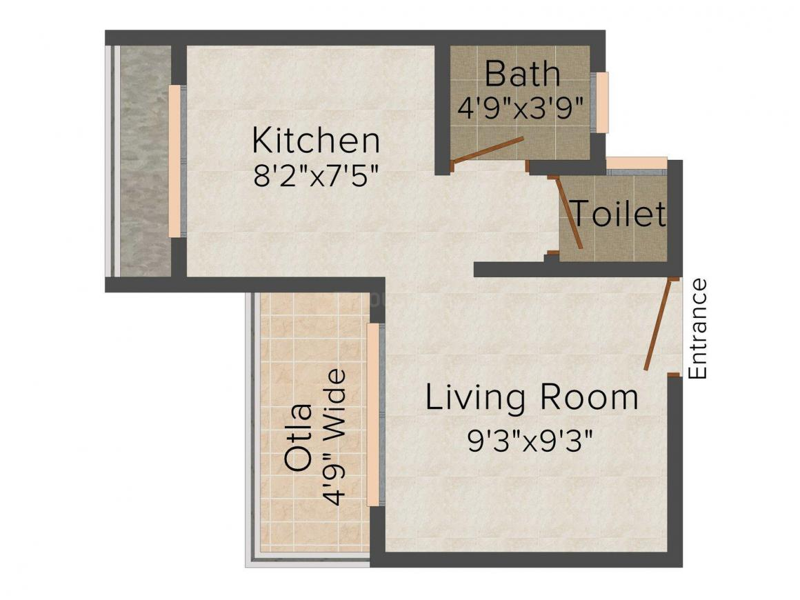 Floor Plan Image of 421 - 570 Sq.ft 1 RK Apartment for buy in Swastik Vihar