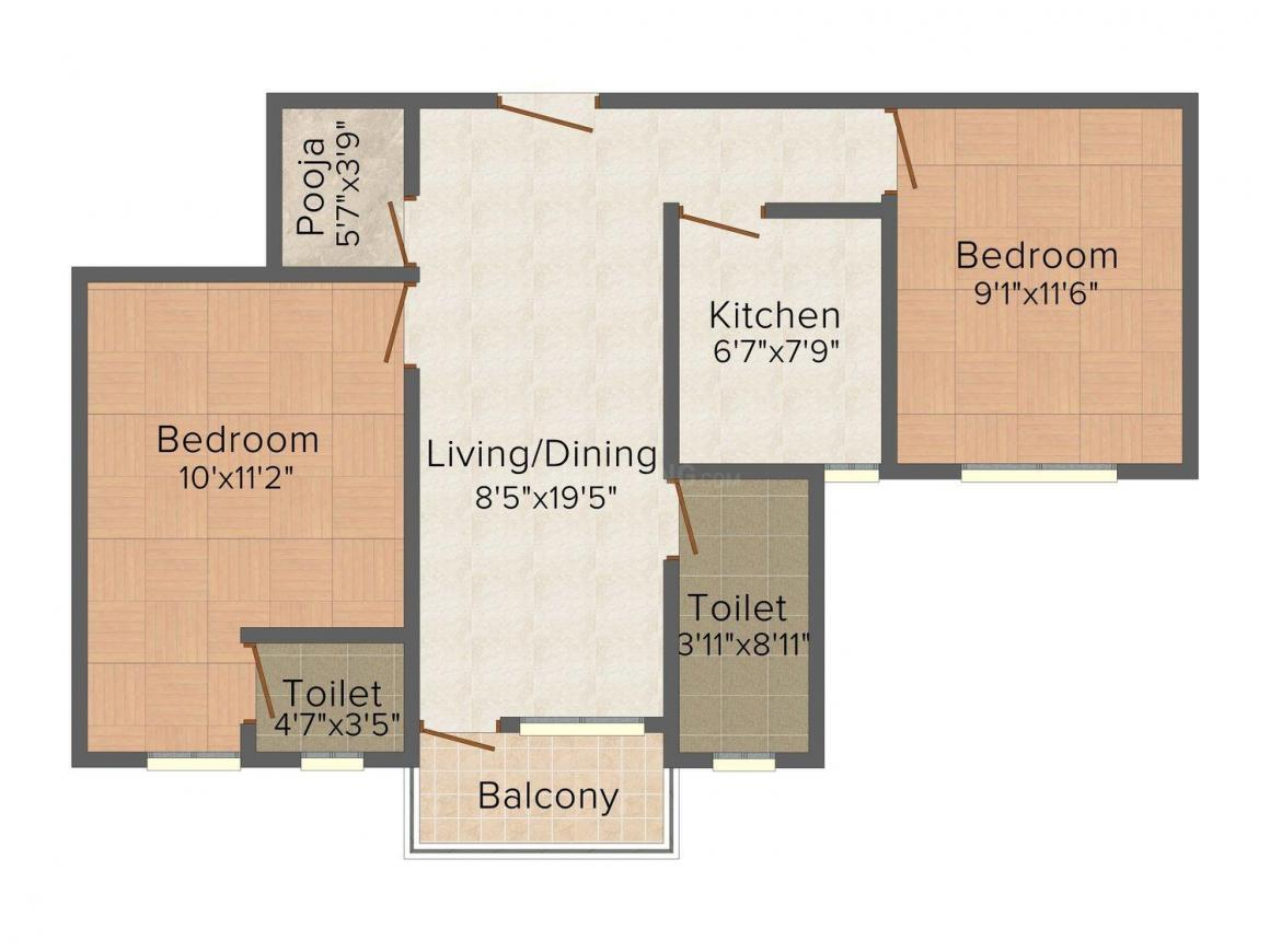 GM Meena Icon Floor Plan: 2 BHK Unit with Built up area of 740 sq.ft 1