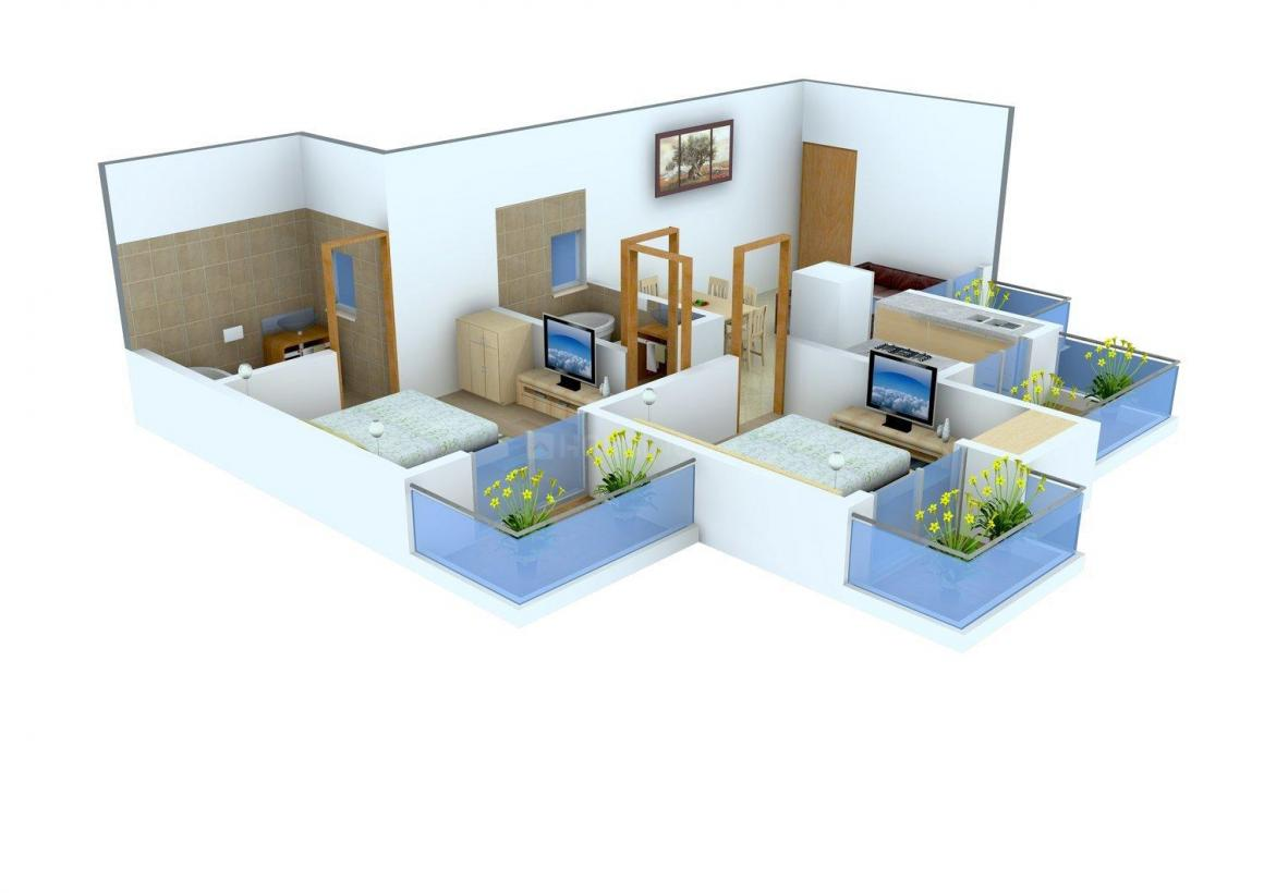Supercity Miglani Bally Ha i Floor Plan: 2 BHK Unit with Built up area of 763 sq.ft 2