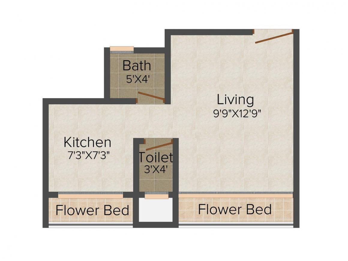 Oasis Glory Floor Plan: 1 BHK Unit with Built up area of 425 sq.ft 1