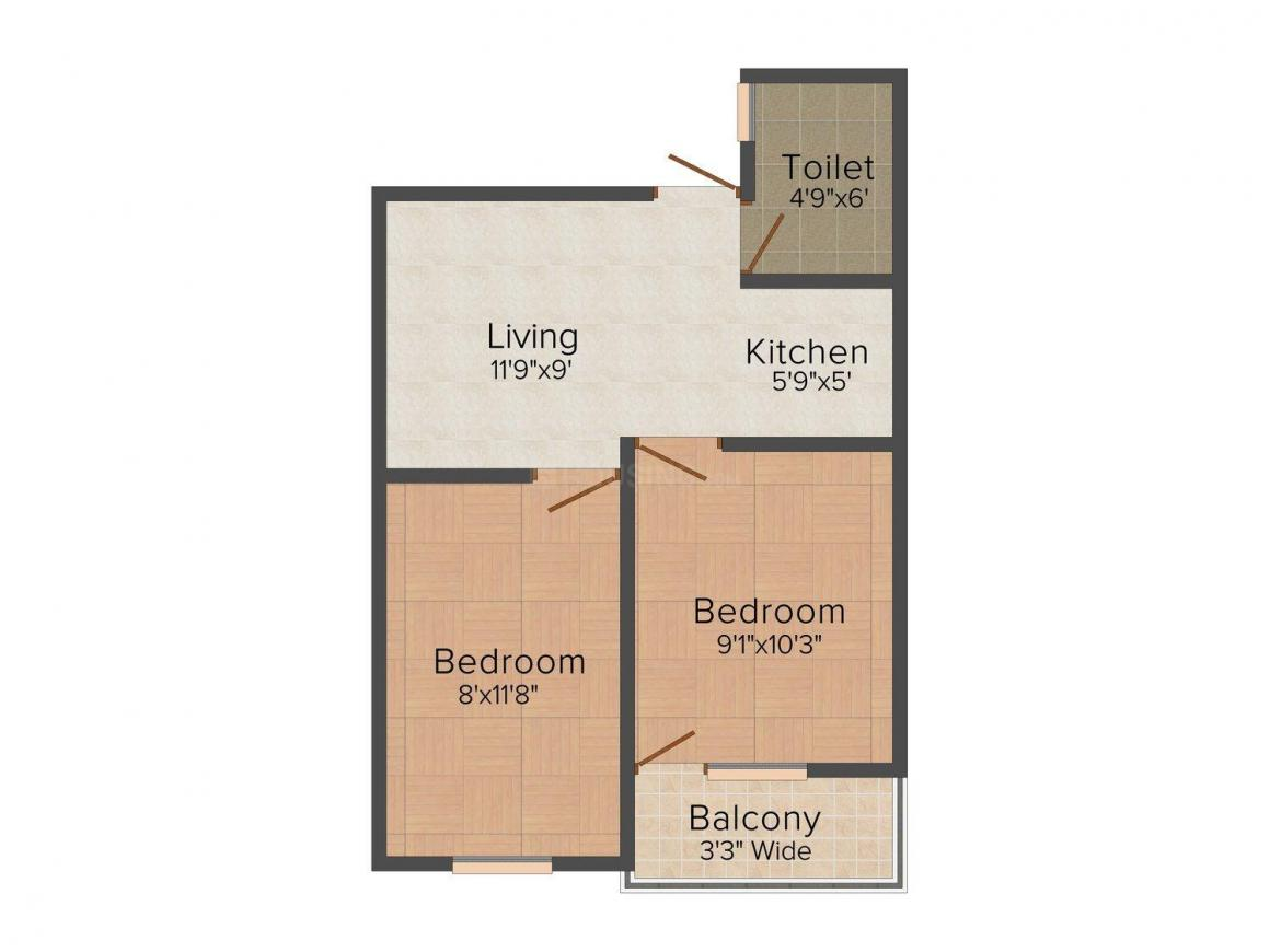 Floor Plan Image of 405.0 - 630.0 Sq.ft 2 BHK Independent Floor for buy in DK Homes I