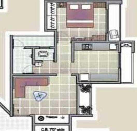 Shivnath Habitats Floor Plan: 1 BHK Unit with Built up area of 389 sq.ft 1