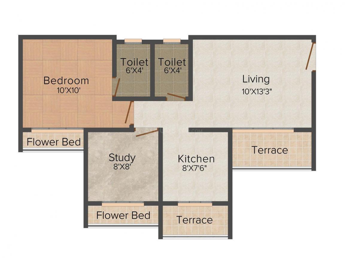 Floor Plan Image of 850.0 - 1125.0 Sq.ft 1.5 BHK Apartment for buy in GDC Bhoomi Gardenia II