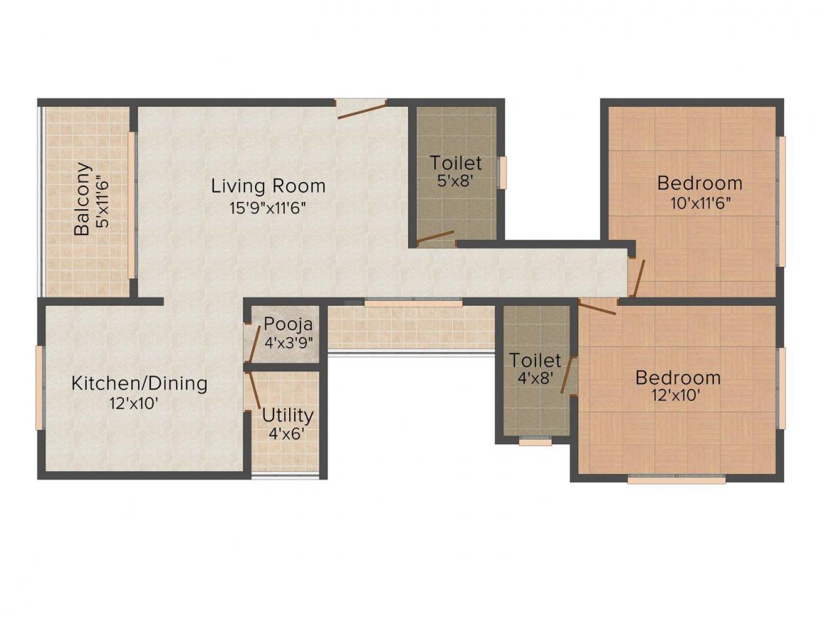 Floor Plan Image of 778.0 - 971.0 Sq.ft 2 BHK Apartment for buy in Nerkar Ganesh Sparsh