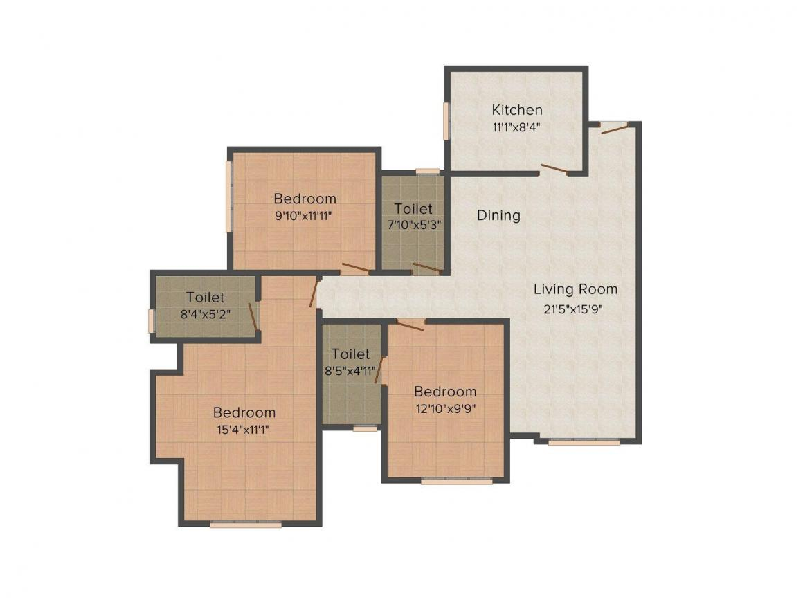 Floor Plan Image of 0 - 1445 Sq.ft 3 BHK Apartment for buy in Rodas Enclave Woodville