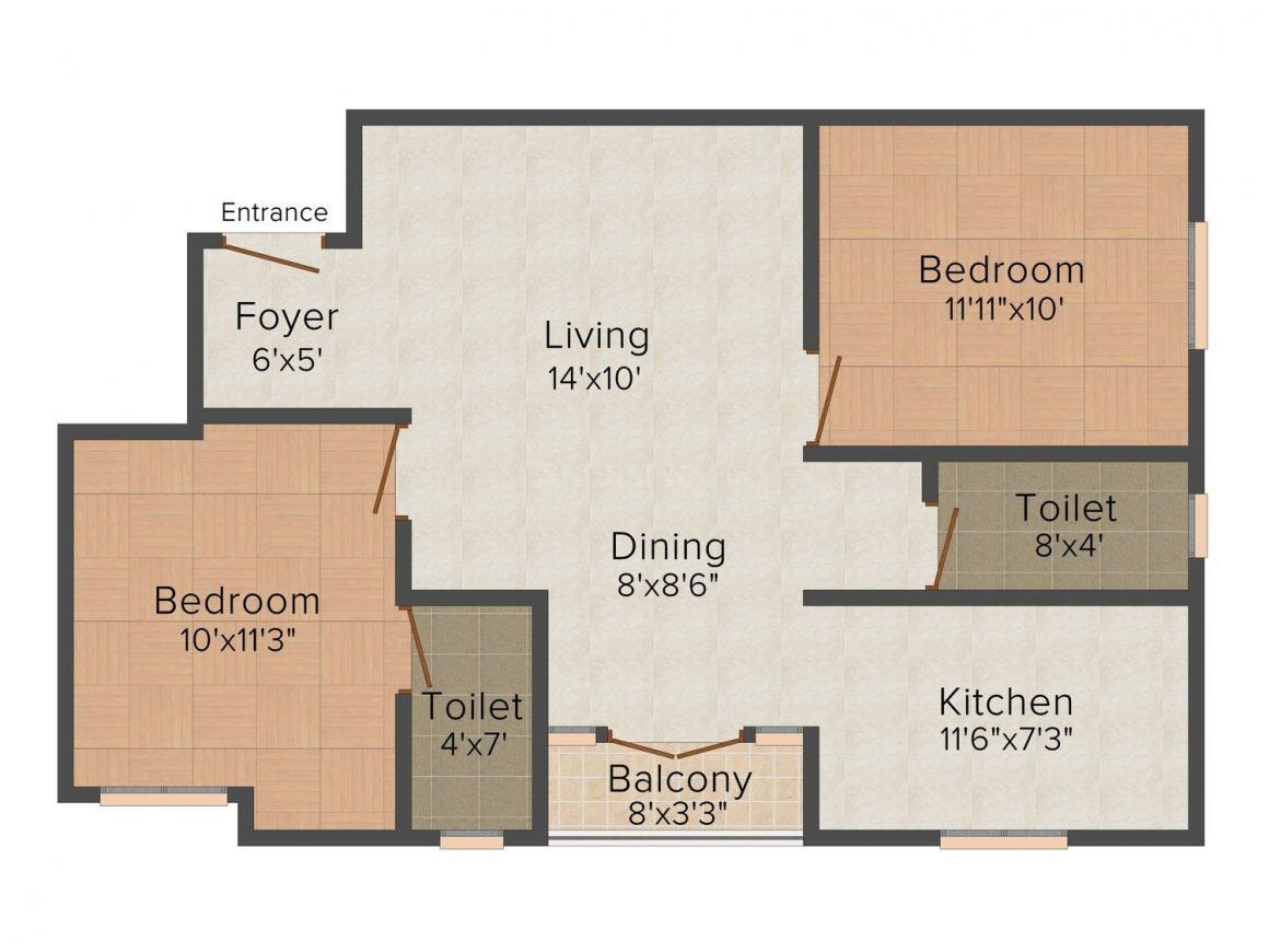 Floor Plan Image of 0 - 960.0 Sq.ft 2 BHK Apartment for buy in Ms charan KRM