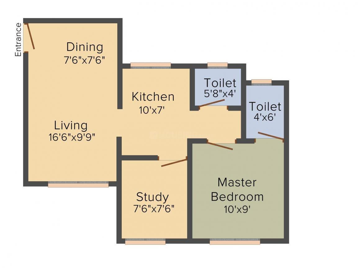Rajhans Builder Surat Rajhans Emerald Floor Plan: 1 BHK Unit with Built up area of 790 sq.ft 1