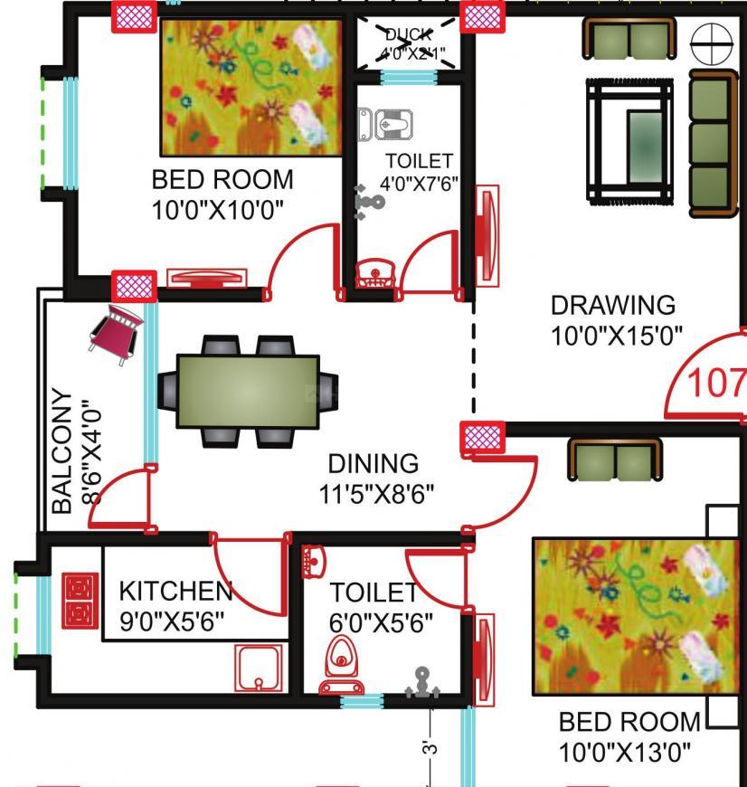 Universal Green Infra Gorakh Villa Floor Plan: 2 BHK Unit with Built up area of 915 sq.ft 1