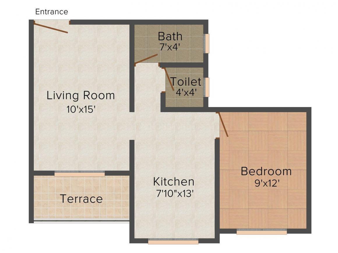Floor Plan Image of 0 - 570.0 Sq.ft 1 BHK Apartment for buy in Shreeram Upasana Apartment