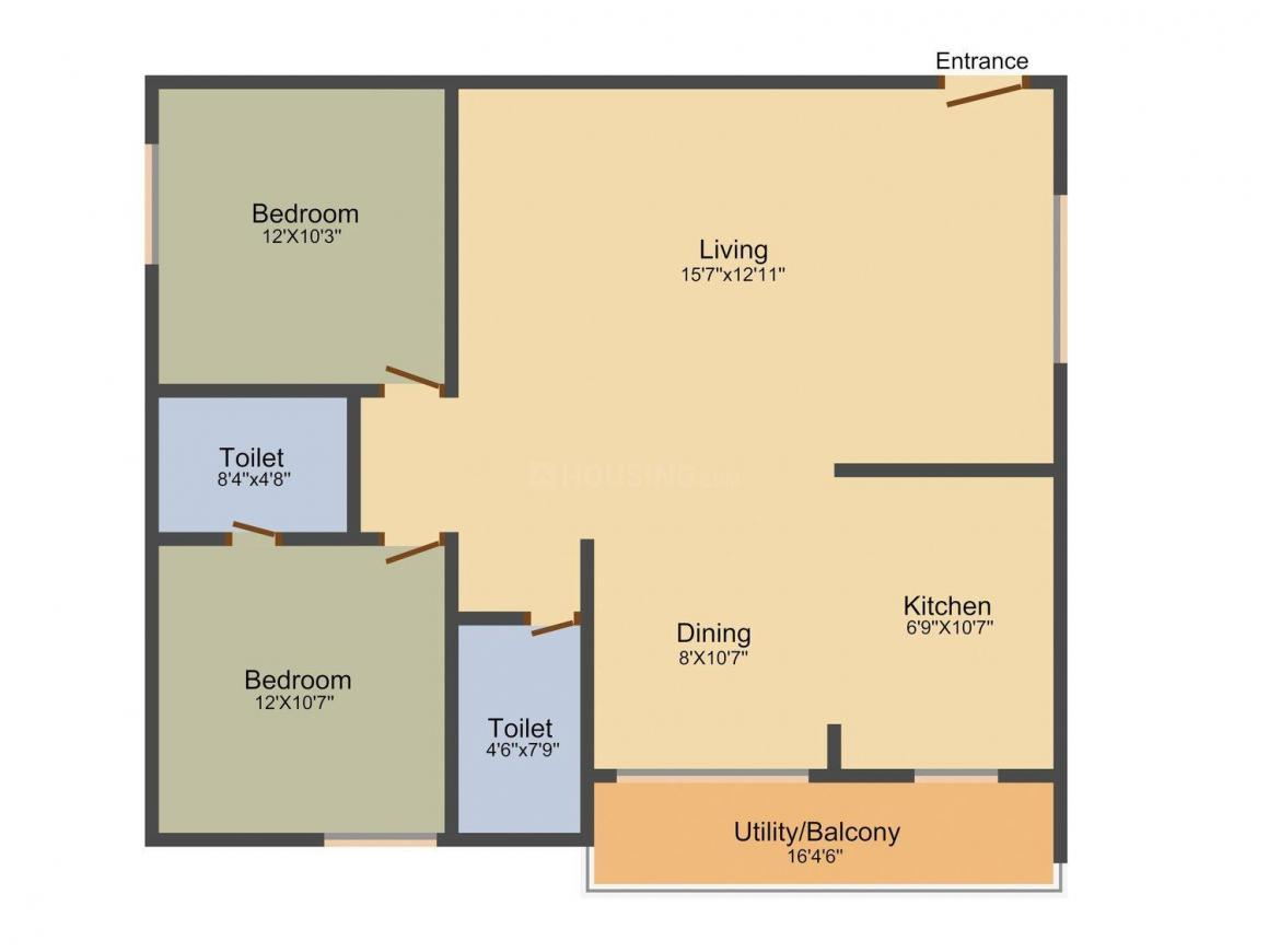 Floor Plan Image of 1150.0 - 1515.0 Sq.ft 2 BHK Apartment for buy in Sumukha Serenity