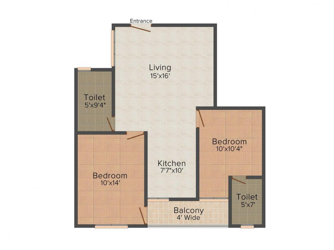 Floor Plan Image of 925.0 - 1405.0 Sq.ft 2 BHK Apartment for buy in SNG Floreat