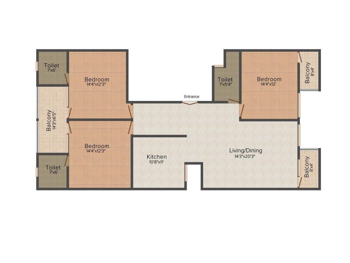 Floor Plan Image of 0 - 1800.0 Sq.ft 3 BHK Independent Floor for buy in Yadav Floors 2