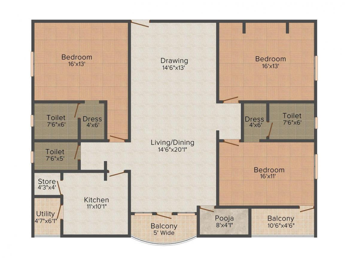 Floor Plan Image of 2074 - 2116 Sq.ft 3 BHK Apartment for buy in Sawhney Fortune