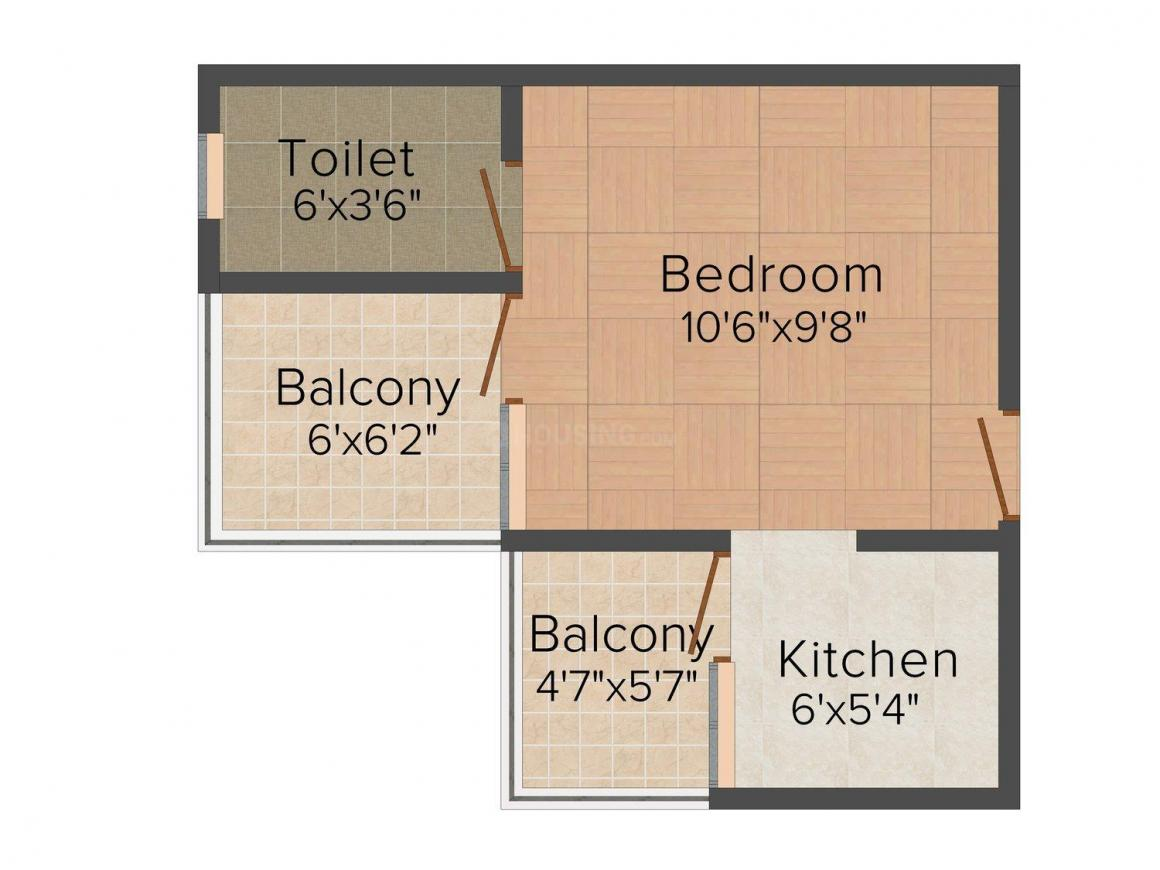 Premier Urban Floor Plan: 1 BHK Unit with Built up area of 450 sq.ft 1