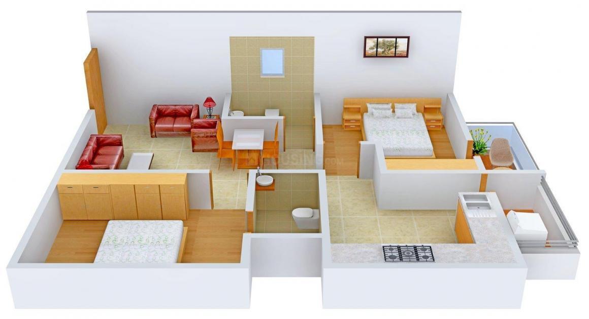 Sanjana Sahara Floor Plan: 2 BHK Unit with Built up area of 1000 sq.ft 1