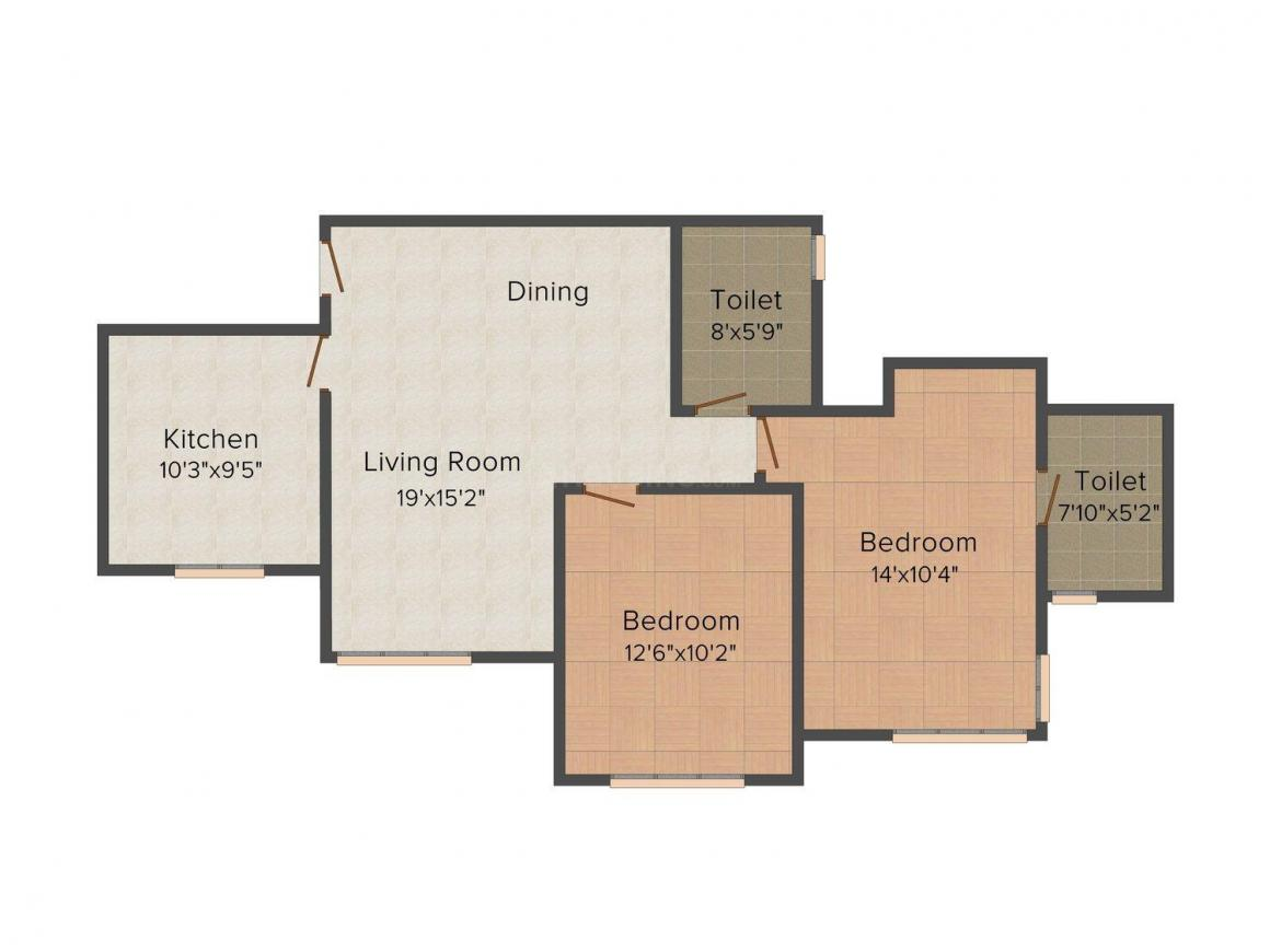Floor Plan Image of 1040 - 1445 Sq.ft 2 BHK Apartment for buy in Rodas Enclave Woodpark