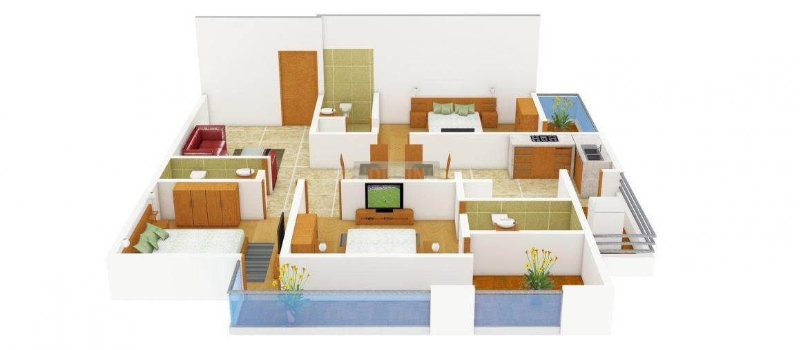 AG8 The Nest Floor Plan: 3 BHK Unit with Built up area of 1790 sq.ft 1