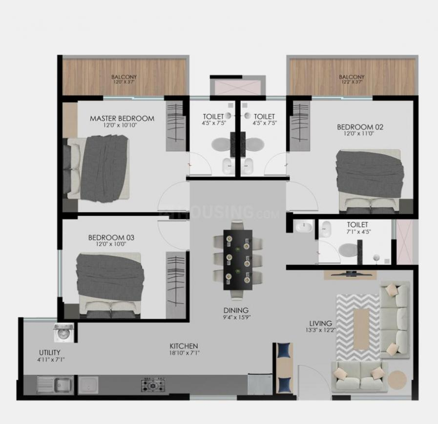 Modern 77 East Floor Plan: 3 BHK Unit with Built up area of 965 sq.ft 1