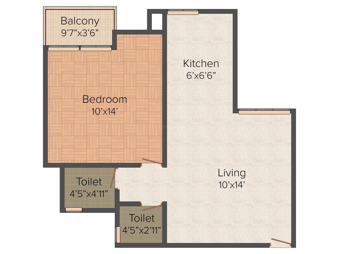 KLJ Nakshtra Floor Plan: 1 BHK Unit with Built up area of 536 sq.ft 1