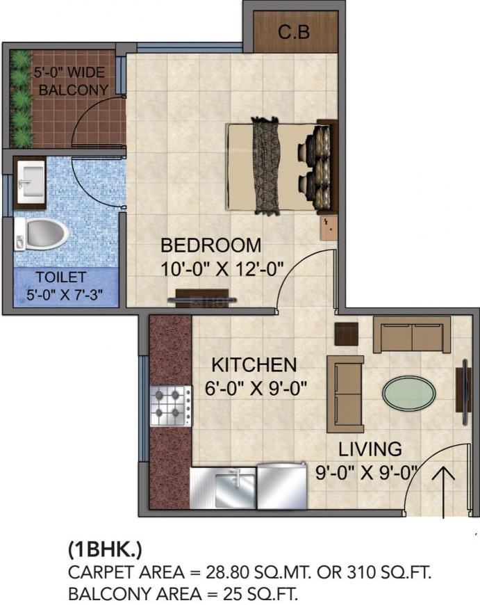 GLS Avenue 51 Floor Plan: 1 BHK Unit with Built up area of 310 sq.ft 1