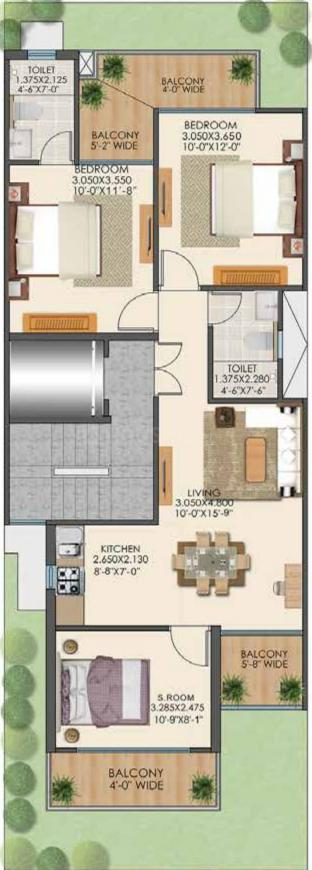 Signature Global Park 4 And 5 Floor Plan: 3 BHK Unit with Built up area of 1082 sq.ft 1