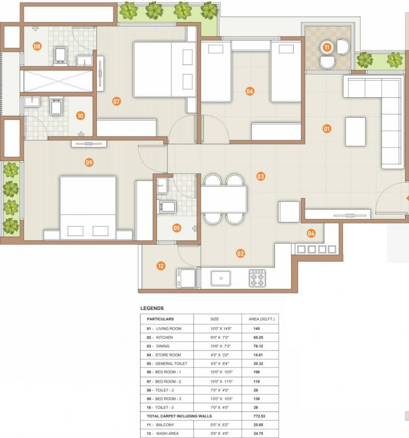 Captown Enhance Floor Plan: 3 BHK Unit with Built up area of 773 sq.ft 1