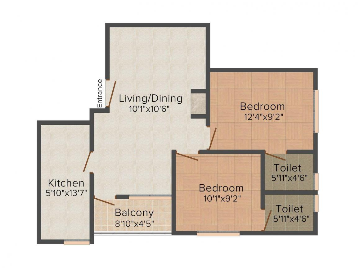 Floor Plan Image of 750 - 1095 Sq.ft 2 BHK Apartment for buy in Krishna Saketh