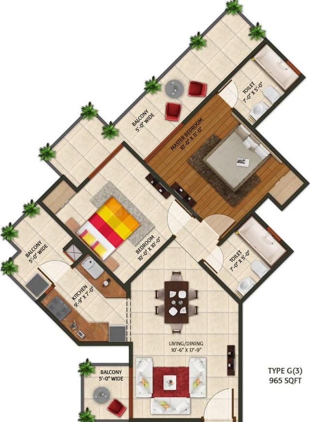 Amaatra Homes Floor Plan: 2 BHK Unit with Built up area of 965 sq.ft 1