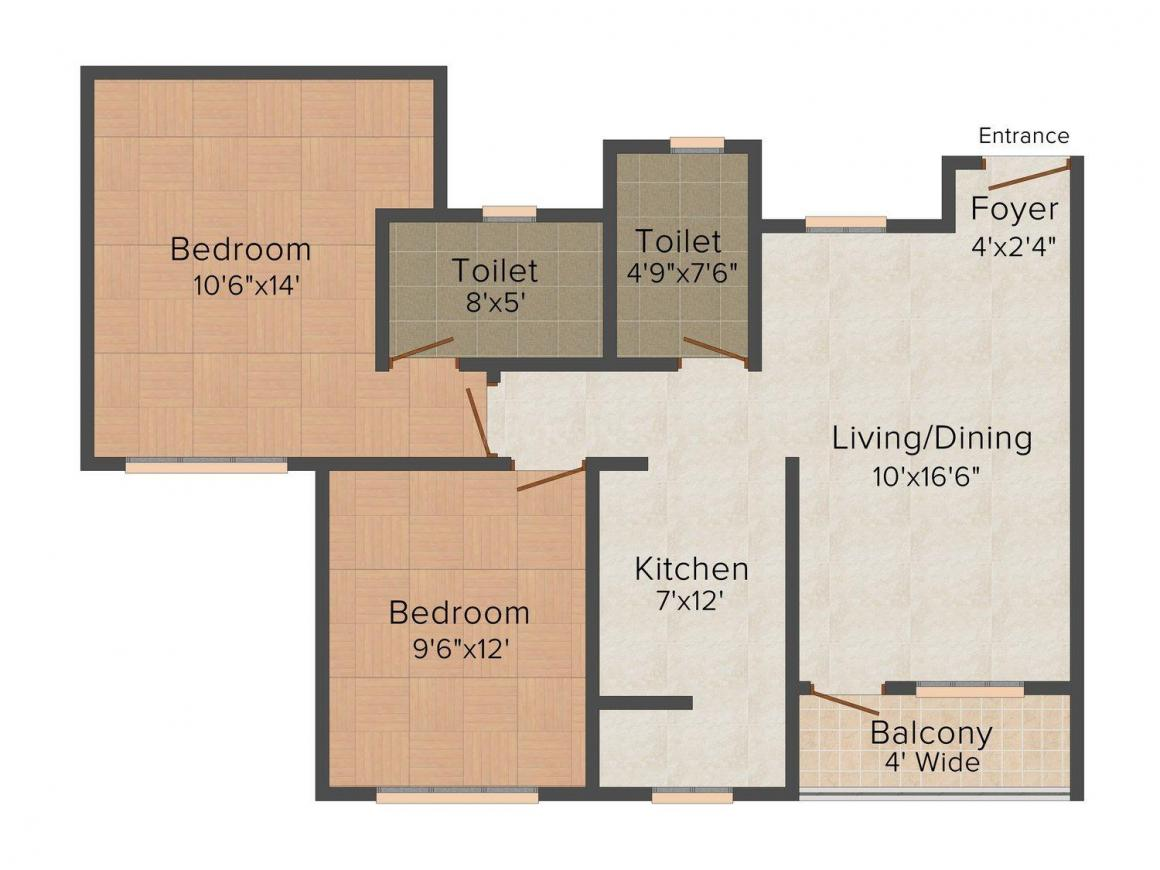 Floor Plan Image of 0 - 980 Sq.ft 2 BHK Independent Floor for buy in Solitare Colonizers Ranjit Avenue 2
