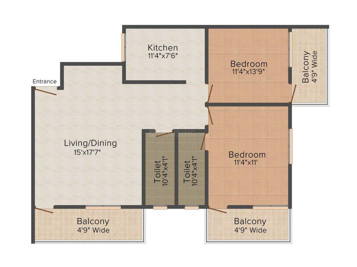 Floor Plan Image of 0 - 700.0 Sq.ft 2 BHK Apartment for buy in SaiKiran Staywell Apartments