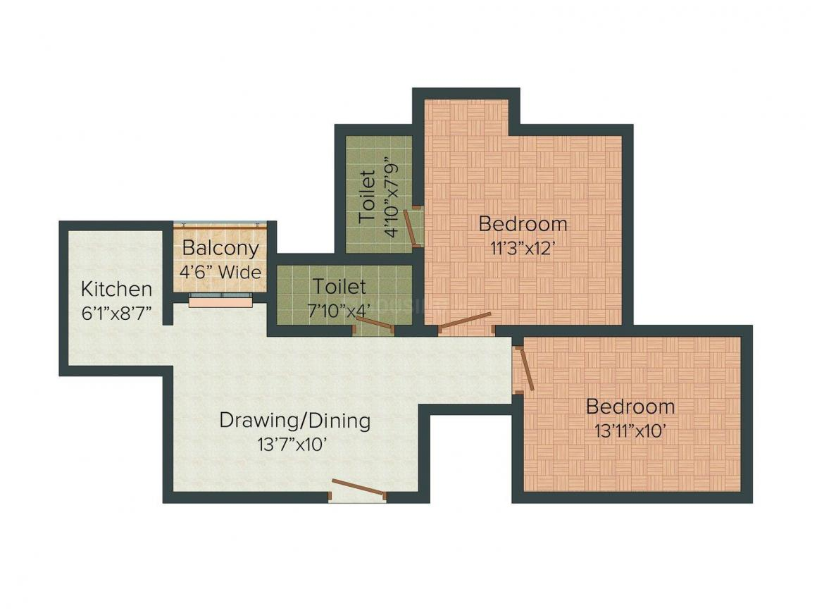 Floor Plan Image of 911.0 - 1492.0 Sq.ft 2 BHK Apartment for buy in Martin Royal Villa