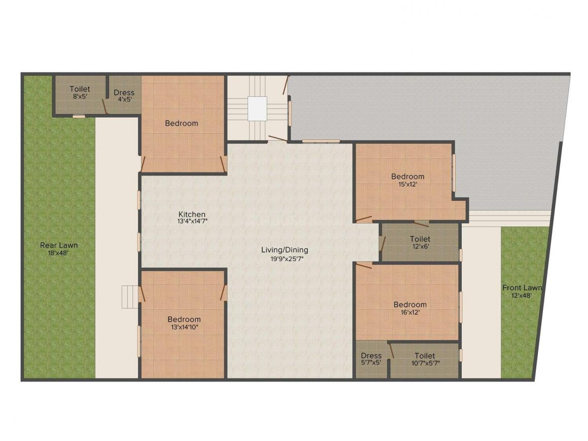 Yash Floors A 2625 Floor Plan: 4 BHK Unit with Built up area of 4005 sq.ft 1