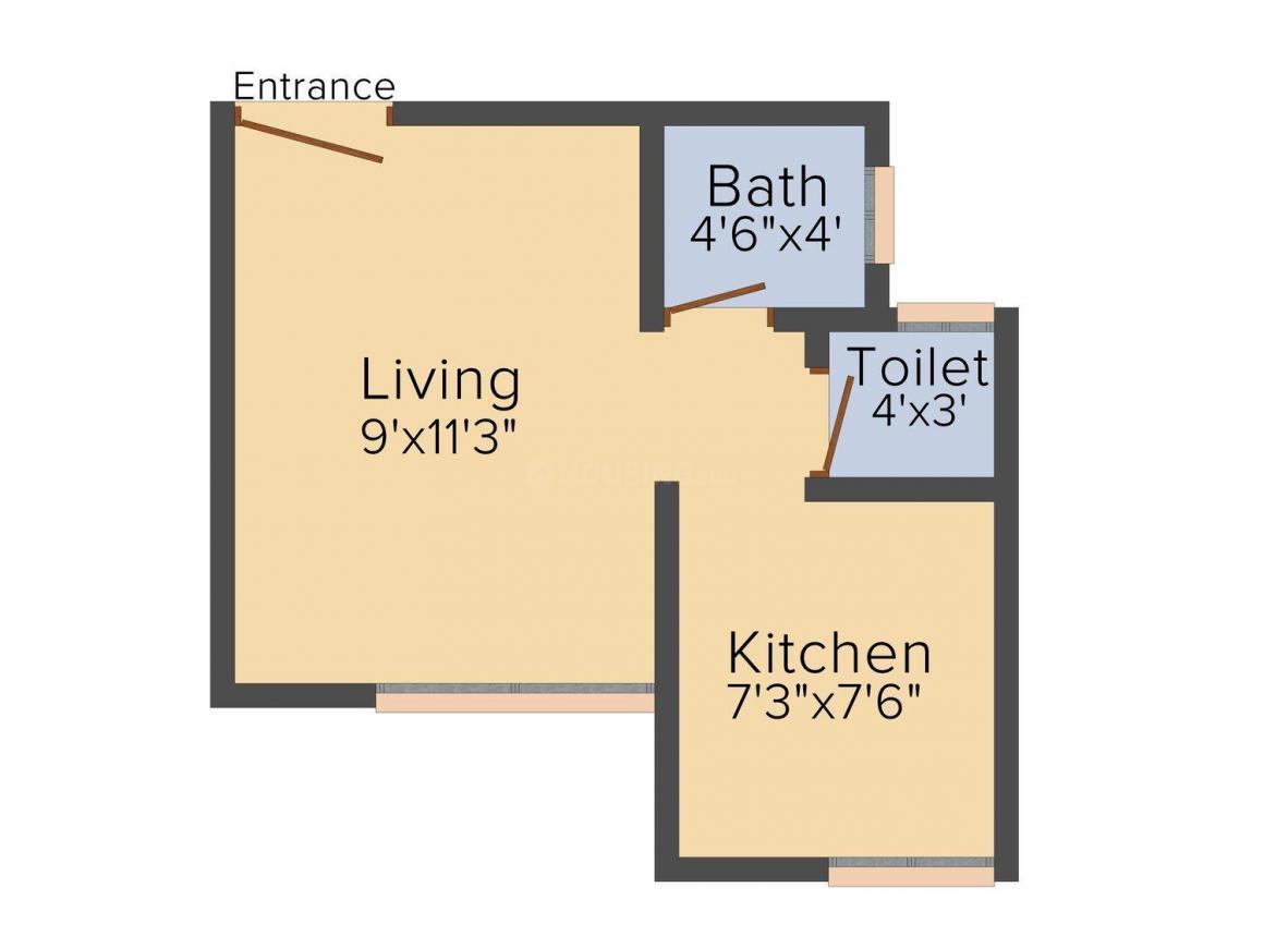 Floor Plan Image of 320 - 908 Sq.ft 1 RK Apartment for buy in Shiv Mahima Aangan