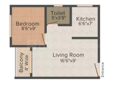 Dhruv Construction Dhruv Residency Floor Plan: 1 BHK Unit with Built up area of 510 sq.ft 1