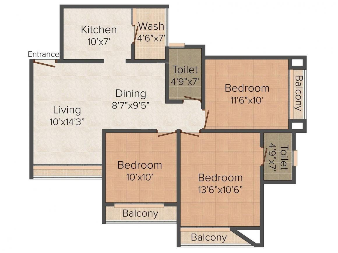 Gala Eternia Floor Plan: 3 BHK Unit with Built up area of 1385 sq.ft 1