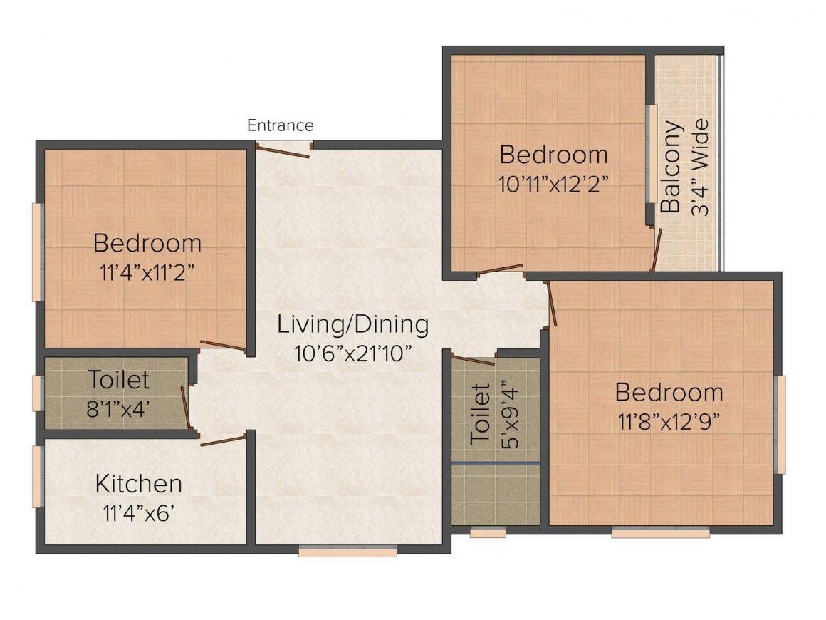 Floor Plan Image of 1350 - 1375 Sq.ft 3 BHK Apartment for buy in  South View Residency