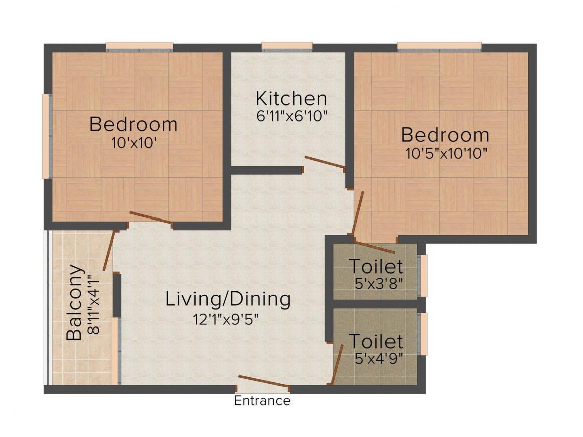 Floor Plan Image of 762 - 1574 Sq.ft 2 BHK Apartment for buy in JMC Durgapur Sparklin