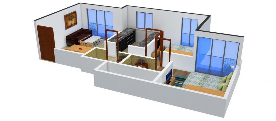 Floor Plan Image of 0 - 700.0 Sq.ft 2 BHK Apartment for buy in Saaga Om Sai