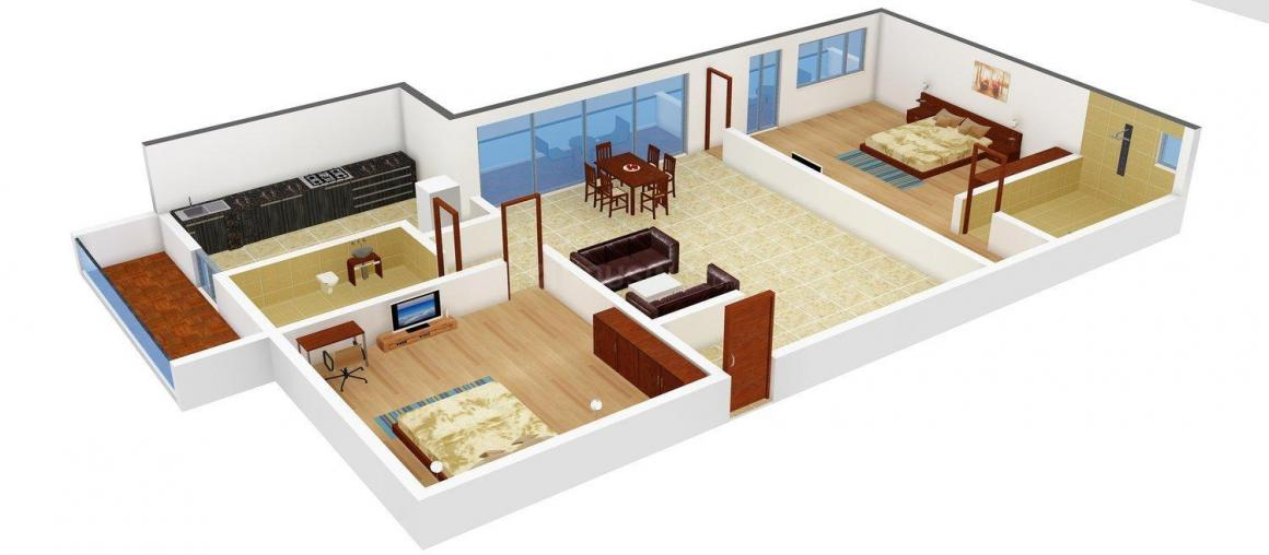 Floor Plan Image of 1330 - 1808 Sq.ft 2 BHK Apartment for buy in Jupiter Commanders Pinnacle