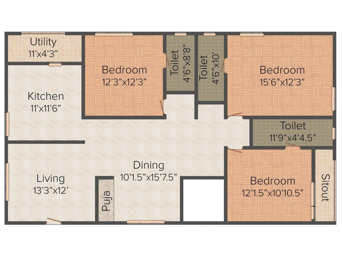 Floor Plan Image of 1820.0 - 2045.0 Sq.ft 3 BHK Apartment for buy in Beverly Springs