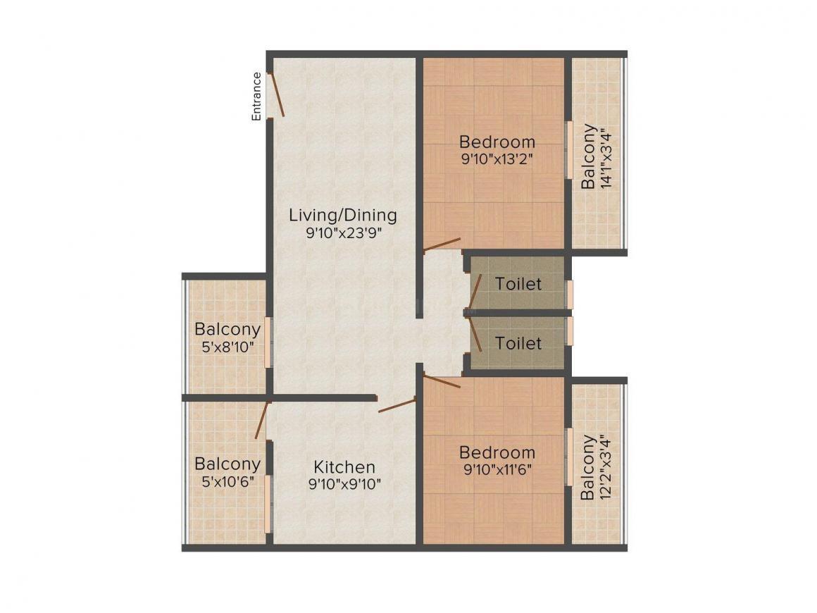 Floor Plan Image of 0 - 983.0 Sq.ft 2 BHK Apartment for buy in Raikar NS Sunrise