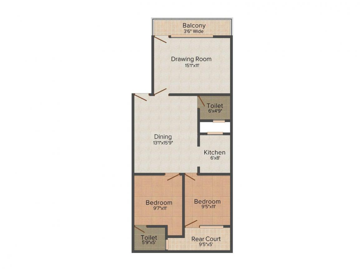 Floor Plan Image of 0 - 950 Sq.ft 2 BHK Independent Floor for buy in Shri Sai Homes-1