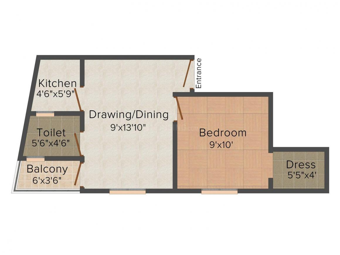 Om Sai Homes 2 Floor Plan: 1 BHK Unit with Built up area of 440 sq.ft 1