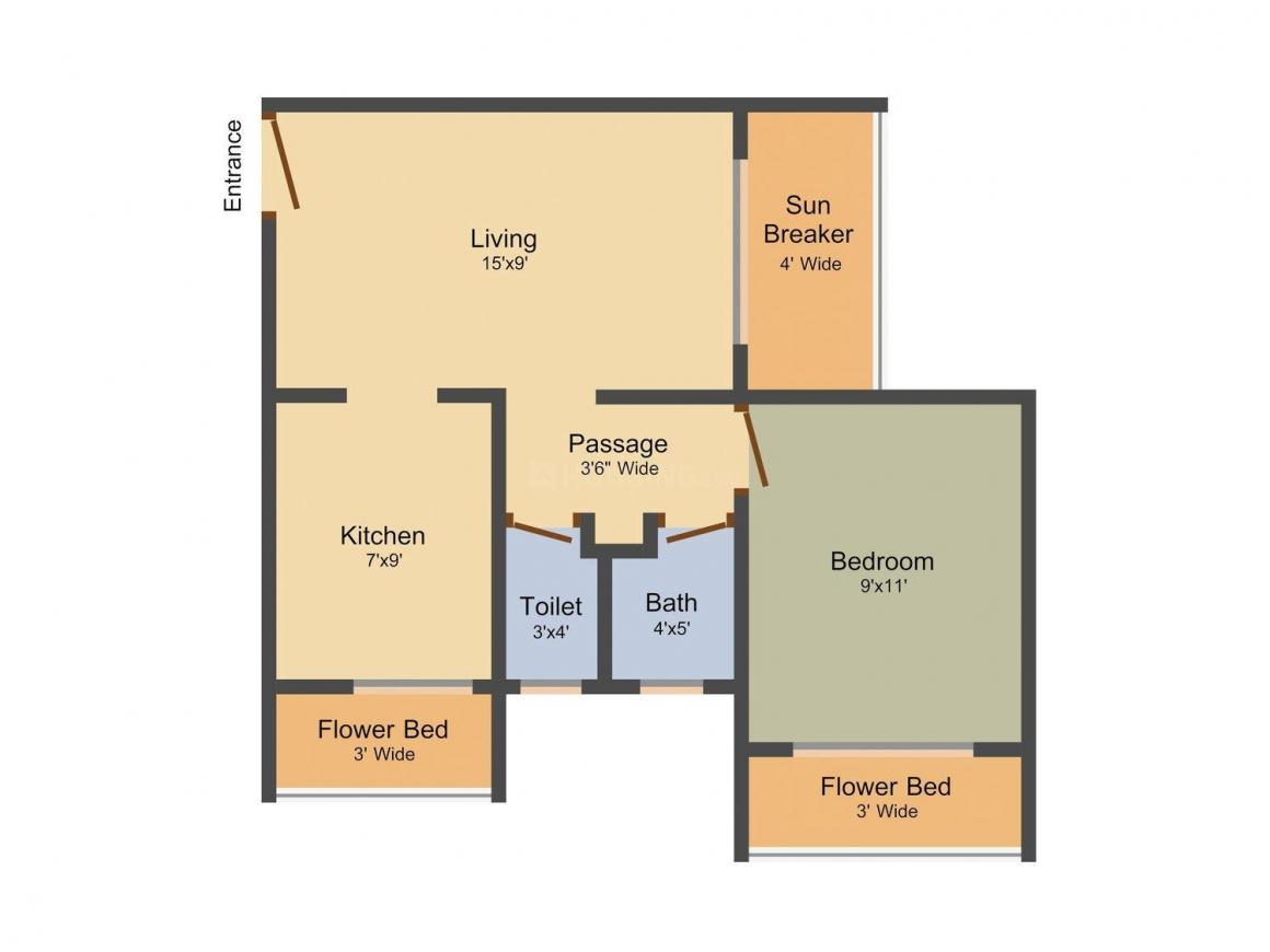 Floor Plan Image of 600.0 - 700.0 Sq.ft 1 BHK Apartment for buy in Sunrise Glory