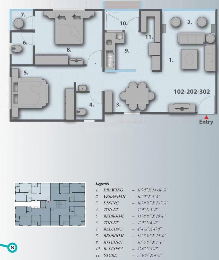 Soniz Ora Bella Floor Plan: 2 BHK Unit with Built up area of 1260 sq.ft 1
