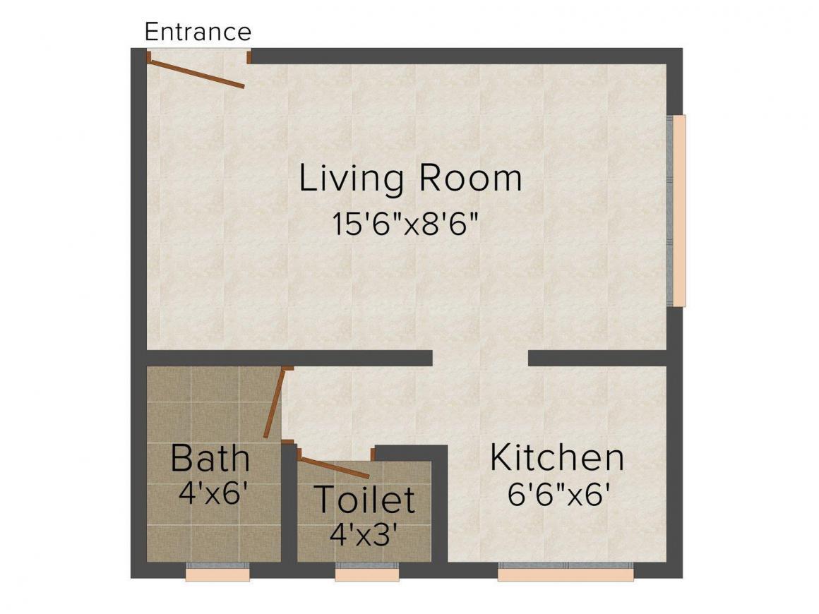 Floor Plan Image of 347.0 - 615.0 Sq.ft 1 RK Apartment for buy in Sai Raj